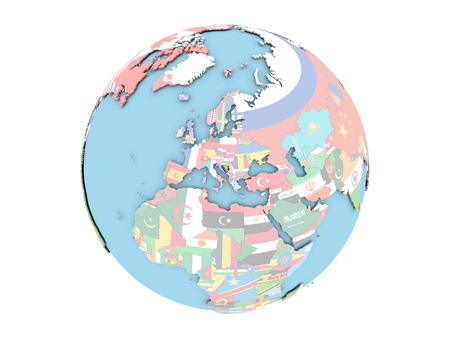 Bosnia on political globe with embedded flags. 3D illustration isolated on white background. Stock Photo