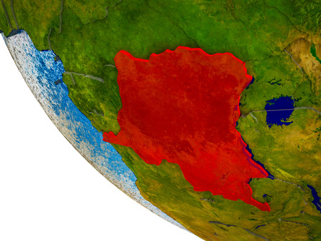 Dem Rep of Congo on model of Earth with country borders and blue oceans with waves. 3D illustration. Banco de Imagens