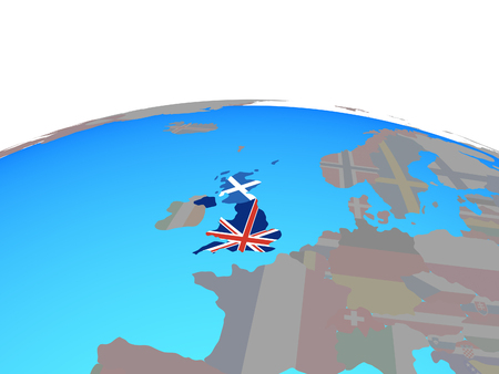 Scotland with national flag on political globe. 3D illustration. Stock Photo