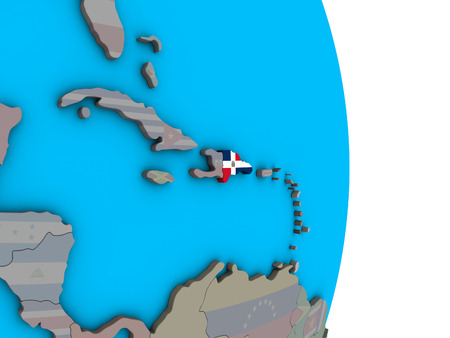 Dominican Republic with embedded national flag on simple political 3D globe. 3D illustration.