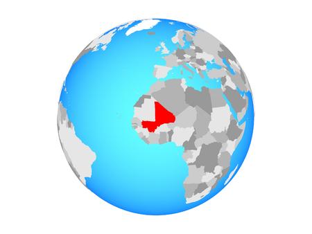 Mali on blue political globe. 3D illustration isolated on white background. Stock Photo
