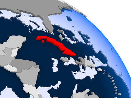 Illustration of Cuba highlighted in red on globe with transparent oceans. 3D illustration.