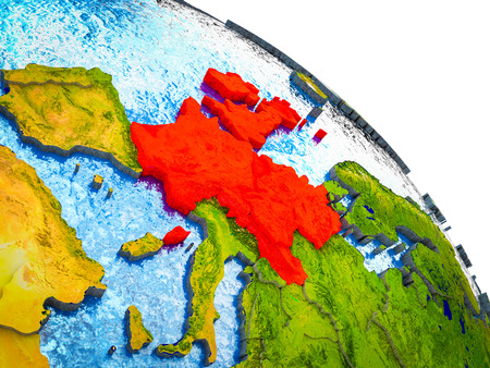 Western Europe Highlighted on 3D Earth model with water and visible country borders. 3D illustration.