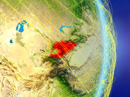 Kyrgyzstan on planet planet Earth with network. Concept of connectivity, travel and communication. 3D illustration. Stock Photo