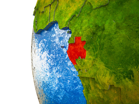 Gabon highlighted on 3D Earth with visible countries and watery oceans. 3D illustration.