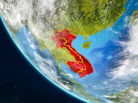 Indochina on planet Earth from space with country borders. Very fine detail of planet surface and clouds. 3D illustration.
