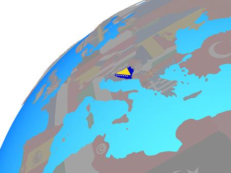 Bosnia and Herzegovina with embedded national flag on globe. 3D illustration.