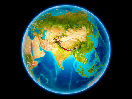 Nepal in red with visible country borders from space. 3D illustration.