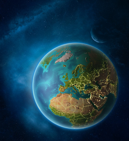 Planet Earth with highlighted Slovenia in space with Moon and Milky Way. Visible city lights and country borders. 3D illustration.