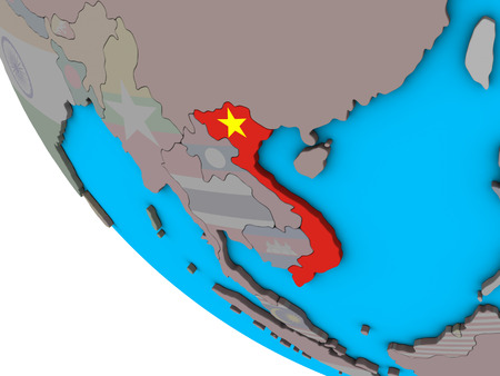 Vietnam with embedded national flag on simple 3D globe. 3D illustration.