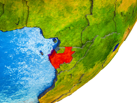 Gabon on 3D model of Earth with water and divided countries. 3D illustration. Stok Fotoğraf - 111592490