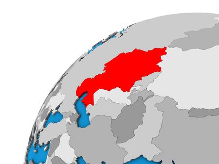 Kazakhstan on 3D globe. 3D illustration.