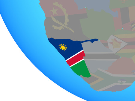 Namibia with national flag on simple globe. 3D illustration.