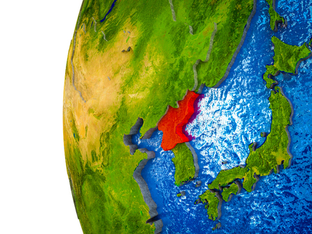 North Korea highlighted on 3D Earth with visible countries and watery oceans. 3D illustration.