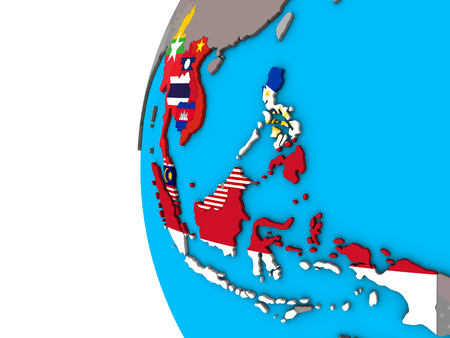 ASEAN member states with national flags on blue political 3D globe. 3D illustration.
