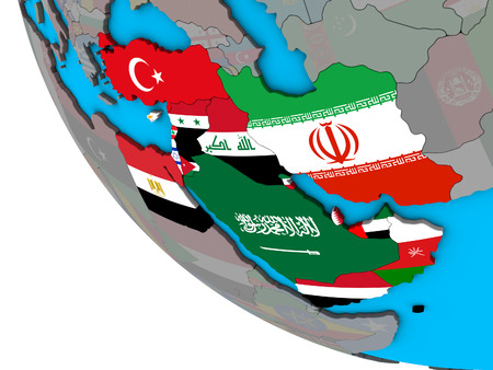 Middle East with embedded national flags on simple 3D globe. 3D illustration.
