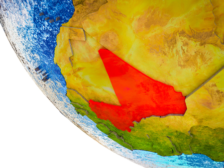Mali on model of Earth with country borders and blue oceans with waves. 3D illustration.