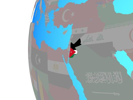 Jordan with embedded national flag on blue political globe. 3D illustration. Stockfoto