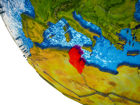 Tunisia on model of Earth with country borders and blue oceans with waves. 3D illustration. 스톡 콘텐츠