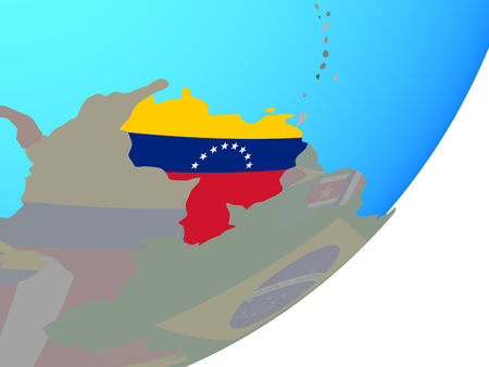 Venezuela with embedded national flag on blue political globe. 3D illustration. Foto de archivo - 111594217