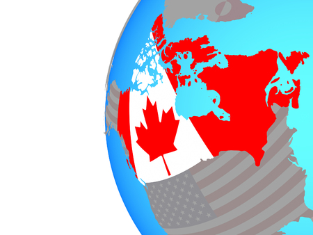 Canada with embedded national flag on blue political globe. 3D illustration.