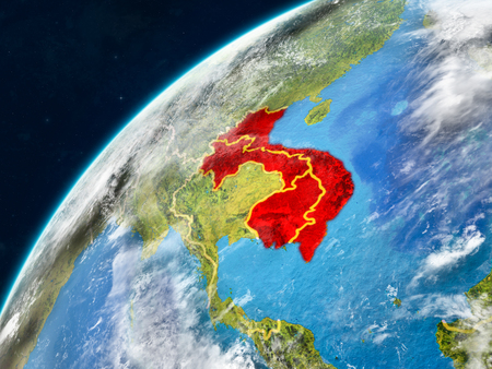 Indochina on realistic model of planet Earth with country borders and very detailed planet surface and clouds. 3D illustration. Reklamní fotografie