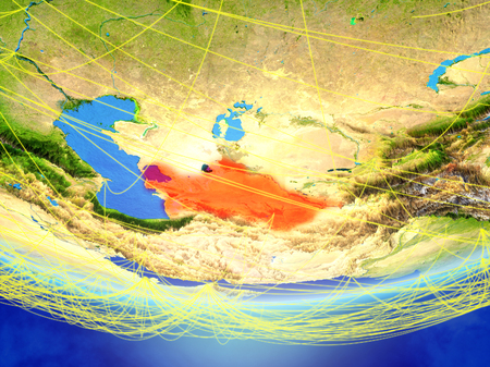 Turkmenistan on model of planet Earth with network representing travel and communication. 3D illustration.