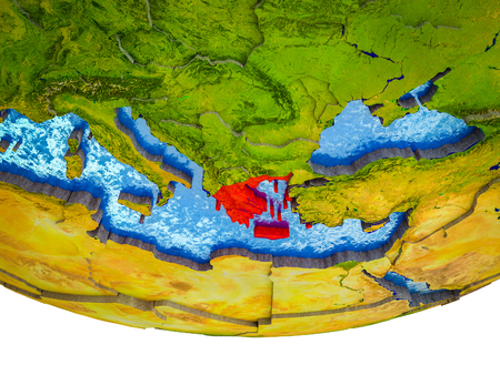 Greece on 3D Earth with divided countries and watery oceans. 3D illustration. Stok Fotoğraf - 111591155