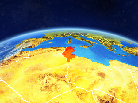 Tunisia on planet Earth with country borders and highly detailed planet surface and clouds. 3D illustration. Stock Photo