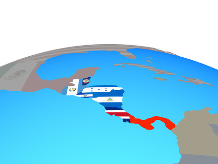 Central America with national flags on political globe. 3D illustration.