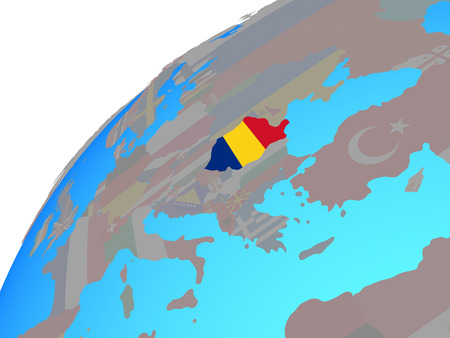 Romania with embedded national flag on globe. 3D illustration.