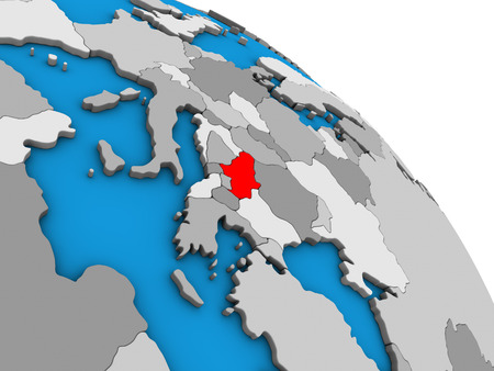 Serbia on simple blue political 3D globe. 3D illustration. Imagens
