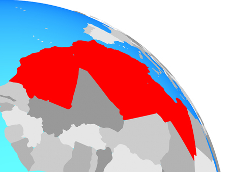 Maghreb region on simple blue political globe. 3D illustration. Фото со стока