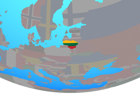 Lithuania with national flag on simple political globe. 3D illustration.