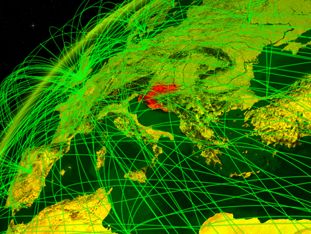 Croatia on model of green planet Earth with international networks. Concept of digital communication and technology. 3D illustration.