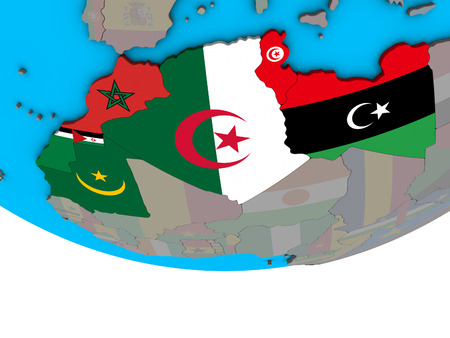 Maghreb region with embedded national flags on simple political 3D globe. 3D illustration.