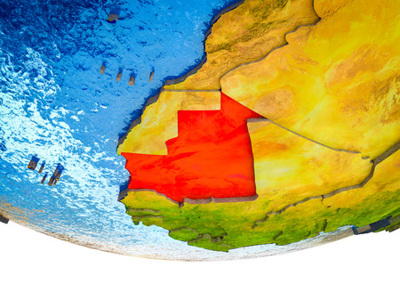 Mauritania on 3D Earth with divided countries and watery oceans. 3D illustration.