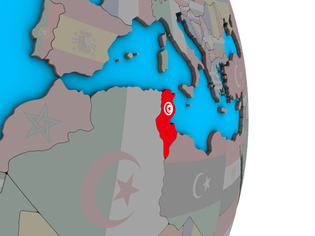 Tunisia with embedded national flag on simple political 3D globe. 3D illustration. Banque d'images - 111594761