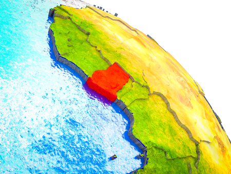 Ghana Highlighted on 3D Earth model with water and visible country borders. 3D illustration. 스톡 콘텐츠