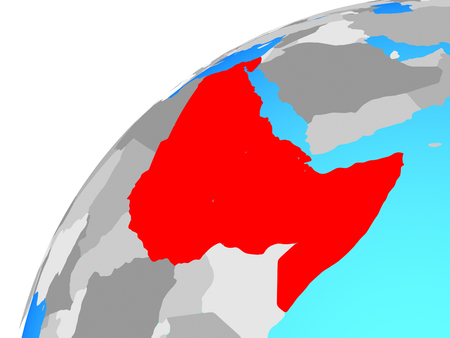 Northeast Africa on globe. 3D illustration. Stock Photo