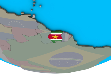 Suriname with embedded national flag on simple political 3D globe. 3D illustration. Stockfoto