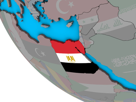 Egypt with embedded national flag on simple 3D globe. 3D illustration. Stock Photo