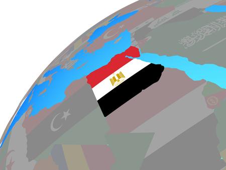 Egypt with embedded national flag on globe. 3D illustration.