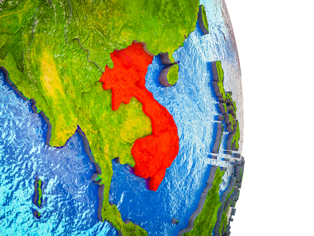 Indochina on 3D model of Earth with divided countries and blue oceans. 3D illustration.