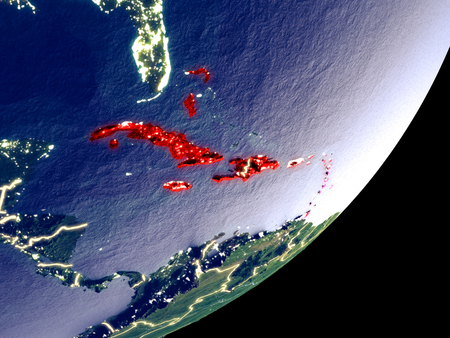 Caribbean from space on model of Earth at night. Very fine detail of the plastic planet surface and visible bright city lights. 3D illustration.