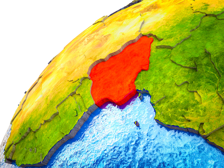 Nigeria on 3D Earth model with visible country borders. 3D illustration.