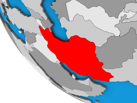 Iran on simple 3D globe. 3D illustration.