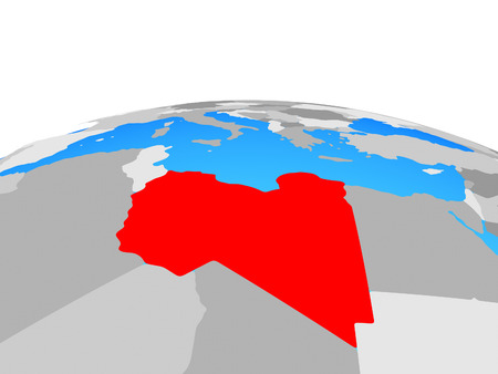 Libya on political globe. 3D illustration.