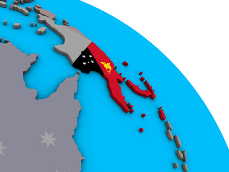 Papua New Guinea with embedded national flag on simple blue political 3D globe. 3D illustration.