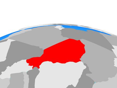 Niger on political globe. 3D illustration.